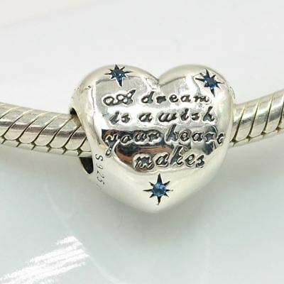 Pandora Sterling Bead Perle Disney Cinderella Aschenputtel S925 Heart Dream Wish