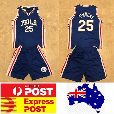 Philadelphia Sixers #25 Ben Simmons Kids jerseys set, with top and shorts