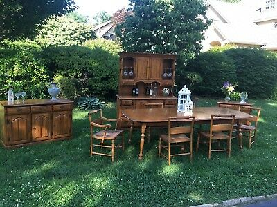 Mid Century Solid Maple Country Dining Set