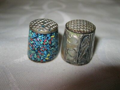Lot 2 - 2Pc Thimble Silver Tone -Mosaic & Abalone -Mother Of Pearl