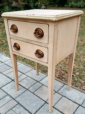Antique thread cabinet nightstand end table cottage shabby primitive hepplewhite