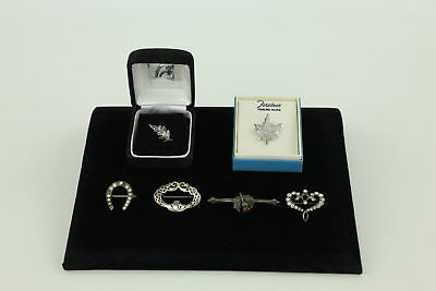 6 x Vintage .925 STERLING SILVER Brooches inc. Thistle, Claddagh, Canadian