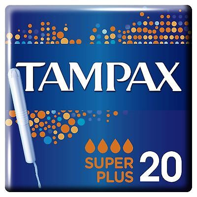Tampax Super+ Plus Tampons with Cardboard Applicator & Leak Protection - 20 Pack