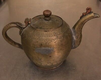 Japanese Antique Bronze Copper Teapot Old