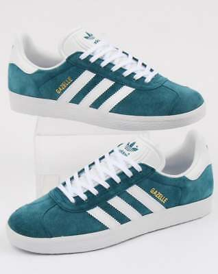 adidas Gazelle Trainers in Petrol Blue & White - suede retro classic 80s 90s