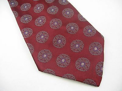 Vintage Men's Tie: Maroon Blue Flowers The American Edition USA
