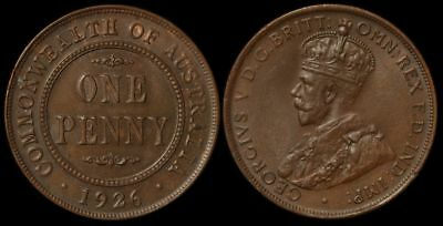 AUSTRALIA 1926 KGV 1d - Chocolate UNC. An under-rated date.