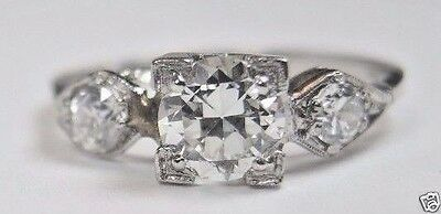 Antique Art Deco Vintage Diamond Engagement Ring Platinum Ring Size 5.75 EGL USA