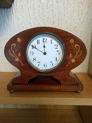 Edwardian French Inlaid Mohogany Mantel Clock