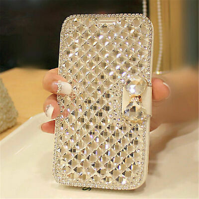Bling Glitter Diamond Bowknot Flip Leather Case Cover For Samsung Galaxy Phones