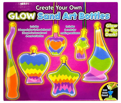 Childrens Bottle Glow Sand Art Set Make Your Own Activity Craft Kit Play Set