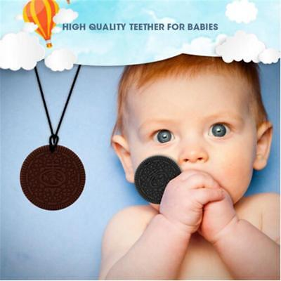 Baby teething cookie soft silicone teether biscuits necklace toy.lin