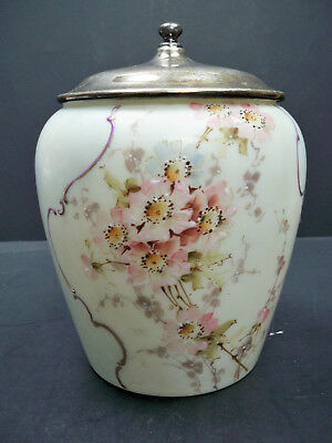 Antique Mt. Washington Pairpoint Cracker Biscuit Jar Hand Painted Floral W/ Lid