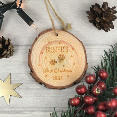 Personalised wood Christmas decorations photo dogs engraved kids Santa bauble