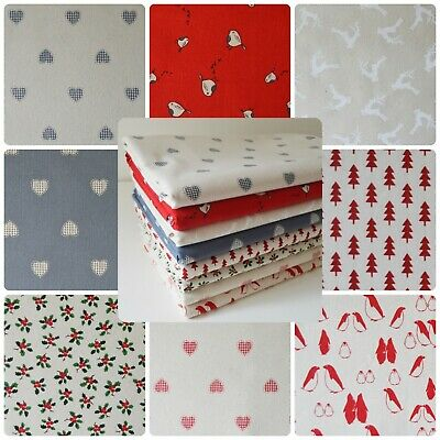 Christmas Scandi 100% Cotton Fabric by Rose & Hubble - Fat Quarter / Bundle Xmas