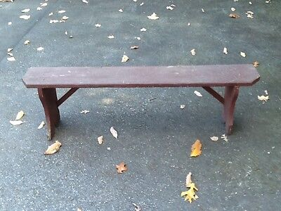 Antique Nice Old Wood Mortised Bench