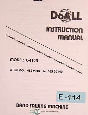 Doall C-410A, Band Saw Install Operations and Maintenance Manual