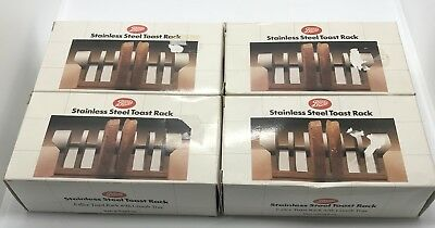 4 X Boots Boxed Vintage 1960s stainless steel 6 Slice toast rack With Crumb Tray