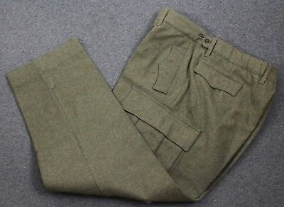 Vintage 1965 Schilling German Military Issue Heavy Wool Cargo Pants Green 38x30