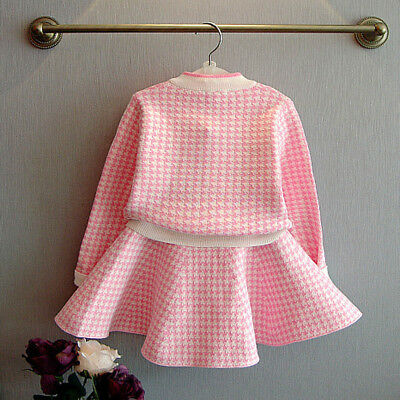 Kids Toddler Baby Girls Outfit Clothes Plaid Knitted Sweater Coat Tops+Skirt Set