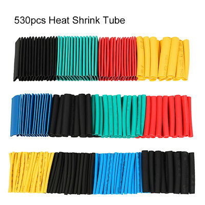 530pc Heat Shrink Tubing Assorted Wrap Wire Cable Tube 2:1 Sleeve Kit Polyolefin