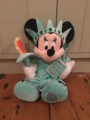 Disney Store Mickey Statue of Liberty Green Soft Toy Cuddly Genuine