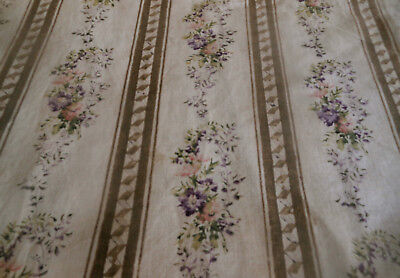 Antique French Floral Garland Cotton Fabric ~ Brown Blush Lavender ~ Aged Patina