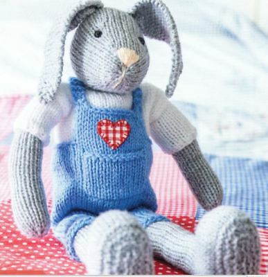 DK Toy Knitting Pattern for Adorable Bunny in Dungarees     (202)