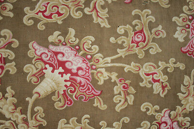 French fabric 1860-70 stylized floral printed design cotton swirling pattern