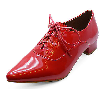 Ladies Red Patent Lace-Up Oxford Brogue Pointy Work School Hipster Shoes 3-8