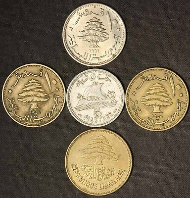 Lot of (5) Coins From Lebanon - Free Shipping USA