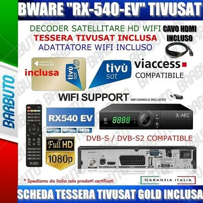 Kit Decoder Bware Rx540 Con Tessera Tv Sat Gold Hd Wifi Pvr Tv Svizzera