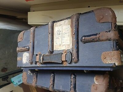 "Antique Vintage blue trunk suitcase ""GWR BANBURY"" label, charity auction, WD3"