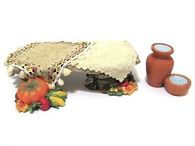 Friends Of The Feather Harvest Table 1998 Enesco Figurine 378941 plus Water Pots