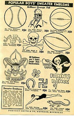 1938 small Print Ad of Boys Sweater Emblems Lucky Swastika, Skull, Boy Scouts