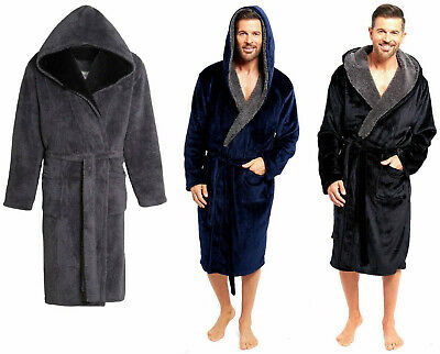 Mens Dressing Gown Fleece Luxury Robe Snuggle Winter Warm House Coat Blue  Maroon f62a4269a