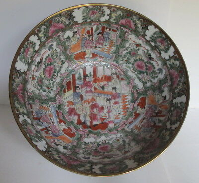 Large Antique Chinese Export Rose Medallion Punch Bowl Figural Scenes 14.25""