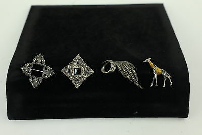 4 x Vintage .835 & .925 STERLING SILVER & Marcasite Brooches Inc. Enamel 36g