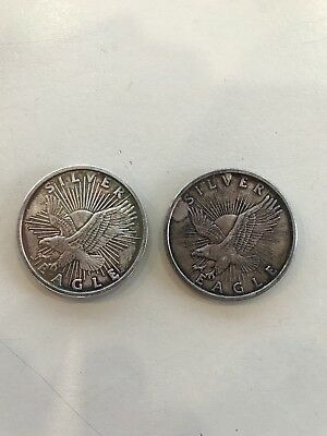 Sunshine Minting Silver Eagle 2-1 troy Oz Coins .999 Fine Silver 2 Coin Lot