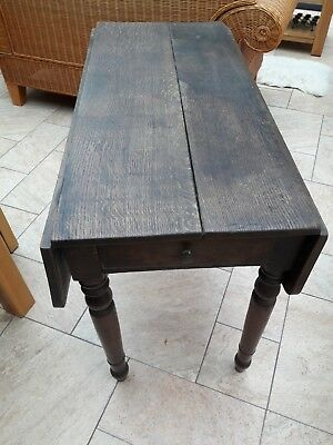 Antique period casual folding table original Oak with drawer & turned legs