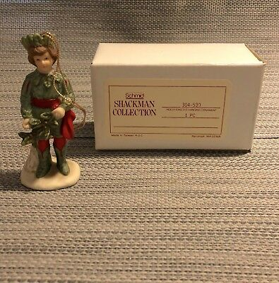 Beautiful Vtg 1987 Schmid Shackman Collection Bisque Holly King Ornament - Mint!