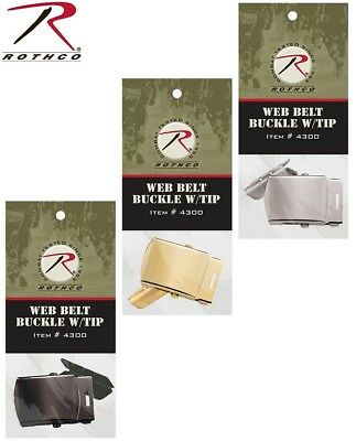 Web Belt Buckle & Tip Military Type Replacement Buckle Black Silver Brass 4300