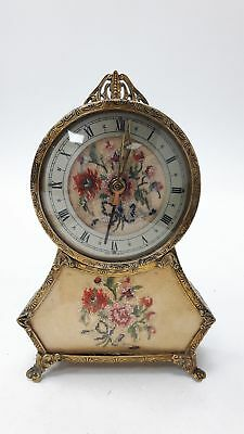 Vintage Antique Brass Gilt Metal Petti Point Musical Clock Embroidered Face #966