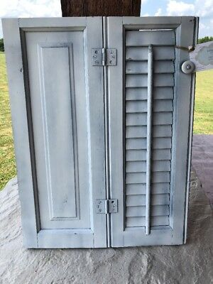 Vintage Antique Small Window Wood Louvered Shutter Shabby Chic ~$$REDUCED!!!~