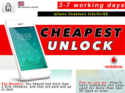 iPhone 5S 5C 5 SE Factory Unlock CODE Service for VODAFONE UK