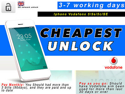 iPhone 6/6S 6+/6s+ 7/7+ Factory Unlock CODE Service FOR VODAFONE UK