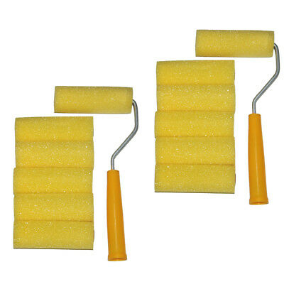 """Mini Roller With 12 Foam Rollers Painting Decorating 4"""" Sponge Sleeves Refill"""