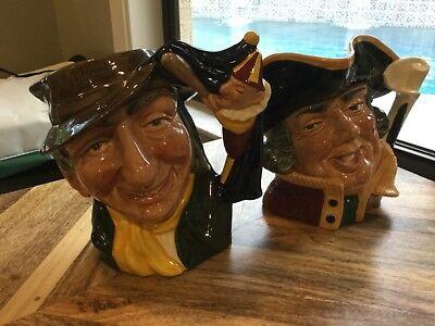Royal Doulton SET 2 Large Character Toby Mugs Punch & Judy Man & Town Crier MINT