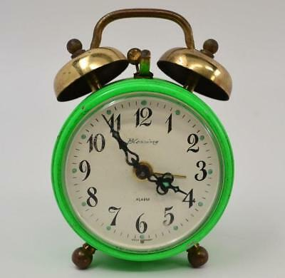 Vintage / Antique Blessing Alarm Clock - Green - West Germany - Working