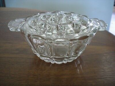 Vintage Flower Frog 16 holes in Ornate Clear Glass Bowl - NICE Condition
